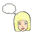 cartoon annoyed female face with thought bubble vector image vector image