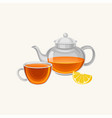cartoon glass teapot and cup with fresh brewed tea vector image vector image
