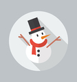 Christmas Flat Icon Snowman vector image