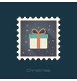 Christmas gift with red ribbon and bow stamp vector image