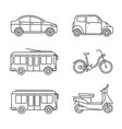 city transport thin line icons vector image vector image