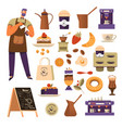 coffee house isolated icons and barista vector image vector image