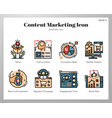 content marketing icons linecolor pack vector image