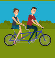 couple with bicycle in the landscape vector image vector image