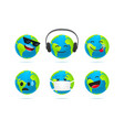 cute earth character emoticons set 3d style funny vector image