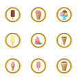 different ice cream icons set cartoon style vector image