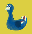 flat shading style icon toy duck vector image vector image