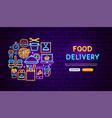 food delivery neon banner design vector image vector image