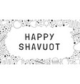 frame with shavuot holiday flat design black thin vector image vector image