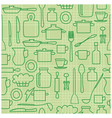 green kitchenware on light background - seamless vector image