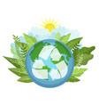 green triangular eco recycle icon environmental vector image
