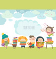 group of cartoon children reading books vector image