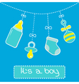 Hanging bottle pacifier rattle and sock Baby boy vector image vector image