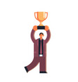 happy businessman holding golden cup successful vector image