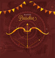 happy dussehra celebration poster design with bow vector image vector image