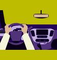 human hands driving a car vector image vector image