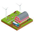 isometric organic farm field or dairy farm vector image