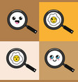kawaii skillet with food faces icon vector image vector image