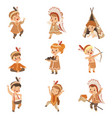 kids in native indian costumes and headdresses vector image vector image
