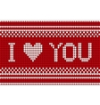 Knitted pattern with I love you inscription vector image