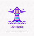 lighthouse in sea thin line icon vector image