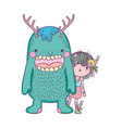little fairy with monster characters vector image