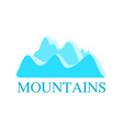 logo with mountains in blue color vector image vector image