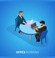 office working banner businessmen work on laptops vector image vector image