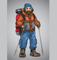 old man hiking vector image