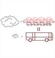 Public transportation vs private transportation vector image