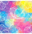 Rainbow triangles with white doodle flowers vector image vector image