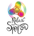 relax and spin on poster vector image