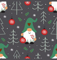 seamless pattern with christmas gnome vector image vector image