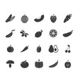 set of monochrome vegetable icons tomato vector image