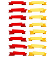 set of red and yellow cartoon ribbons and banners vector image