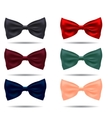 set of silk bow ties on a background vector image