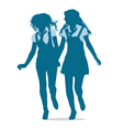 silhouettes teenage girls running together vector image vector image