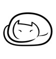 sleeping cat icon on white background vector image vector image