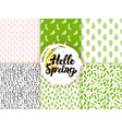 spring trendy seamless patterns vector image vector image