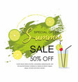 summer sale grunge brush green paint texture vector image vector image