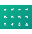 Tooth teeth icons on green background vector image vector image