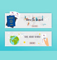 travel around the world online booking ticked vector image vector image
