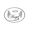 vintage label with wings word angel sketch vector image vector image