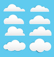 white paper cloud with shadow on blue background vector image vector image
