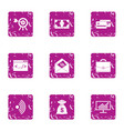 wifi deal icons set grunge style vector image vector image