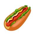 Hotdog American fast food bun with sausage vector image