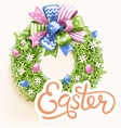 easter festive grass wreath with bow on beige