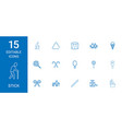 15 stick icons vector image vector image