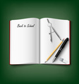 Back to School with workbook and supplies vector image vector image