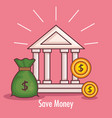 bank building with money vector image